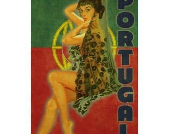 PORTUGAL 1P- Handmade Leather Mini Wallet / Cardholder - Travel Art
