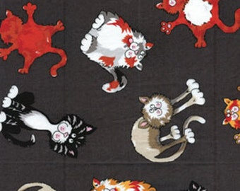"SUPER CLEARANCE! 22"" REMNANT Alley Cat - Feline Frenzy in Gray - Cotton Quilt Fabric - by Kanvas - Benartex (W148)"