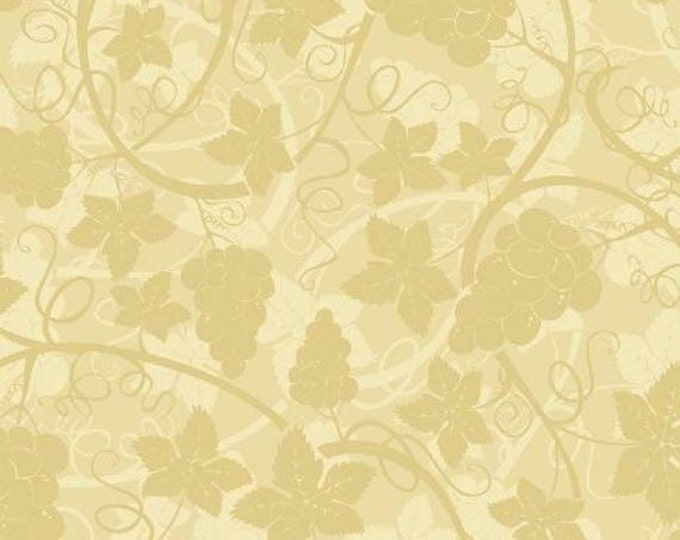 """33"""" REMNANT - Wine and Cheese - Grape Vines in Tan - Cotton Quilt Fabric - Windham Fabrics (W122)"""