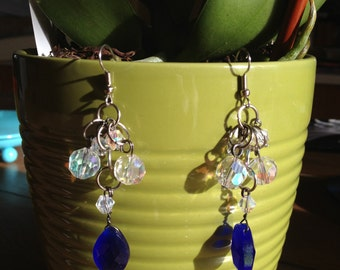 Blue and Crystal Dangle Earrings