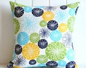 "Geometric Circles Decorative Pillow Cover - Navy Aqua Green Yellow White - Home - 16"" x16"" - living room -  Spring Summer Home Decor"