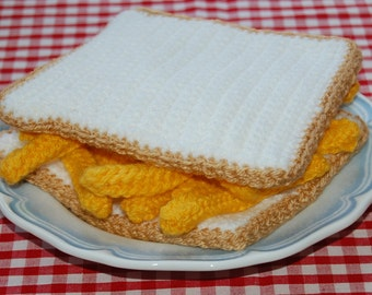 Knitting & Crochet Pattern for a Chip Butty - Knitted Toy Food, Play Food