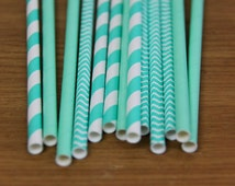 75 tone on tone turquoise paper straws - striped, chevron & solid (PS0010/PS1010/PS3010) aqua paper straws assortment - with printable flags
