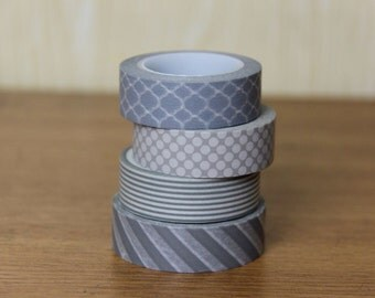 Washi Tape Set of 4  - The Grayish set - 8004/8005/8003/8001