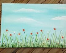 Spring flowers....24x36x.75 floral canvas,wall decor,flower painting,original art.blue sky painting,orange flowers,white flowers