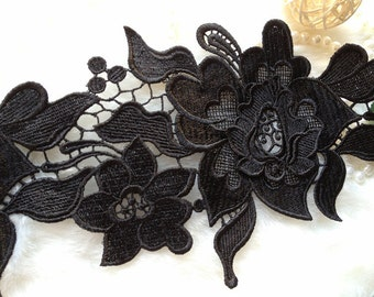 Black Venice Lace, Embroidered Lace Trim, Elegent Trim Lace, Wedding Fabric Lace