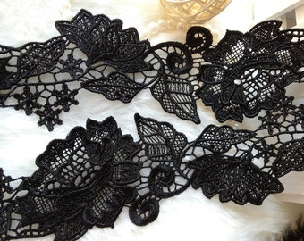 Black Lace Fabric Trim, Vintage Black Lace Trim for Home Decor Costume Supplies One Yard