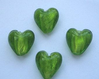15mm foil glass heart beads green x 4 FBH011
