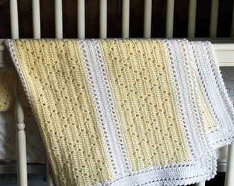 Crochet Baby Blanket, Yellow and White Stripes
