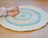 RAG RUG, White Sandy Beach, Crochet Area Rug, Eco Friendly, UpCycled, Recycled, 27 in. across, Ready to SHIP, Obm, Blessed Country Mommy