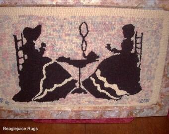 Hand Hooked Wool Rug Framed