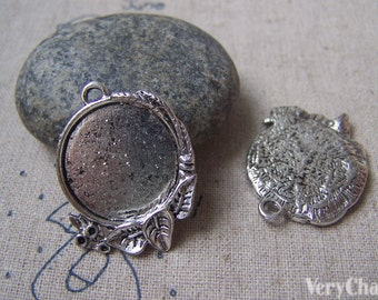 Antique Silver Leaf Bezel Blanks Round Base Setting Tray Match 20mm Cabochon Set of 10 A4958