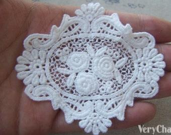 5 pcs White Filigree Floral Huge Cotton Lace Doily 78x88mm A4843