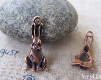 20 pcs of Antique Copper Lovely Hare Rabbit Charms 10x23mm A2452