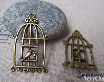 10 pcs of Antique Bronze Filigree Bird Cage Charms 20x34mm A153