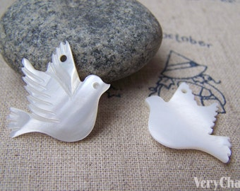 Mother of Pearl Dove Pigeon Natural Shell Bird Charms  20x25mm Set of 6 A2763