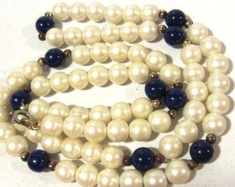 Vintage necklace faux pearl & blue stone 25'' Length