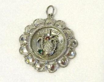 Vintage Freeport Grand BAHAMAS sterling silver genuine Ruby & Emerald pendant