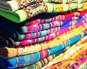 Moroccan colorful handwoven fabric cloth - Travel Art photography - Morocco Photography
