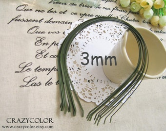 10 ( pcs ) 3mm Oliver Green Metal Hairbands  HB3 07