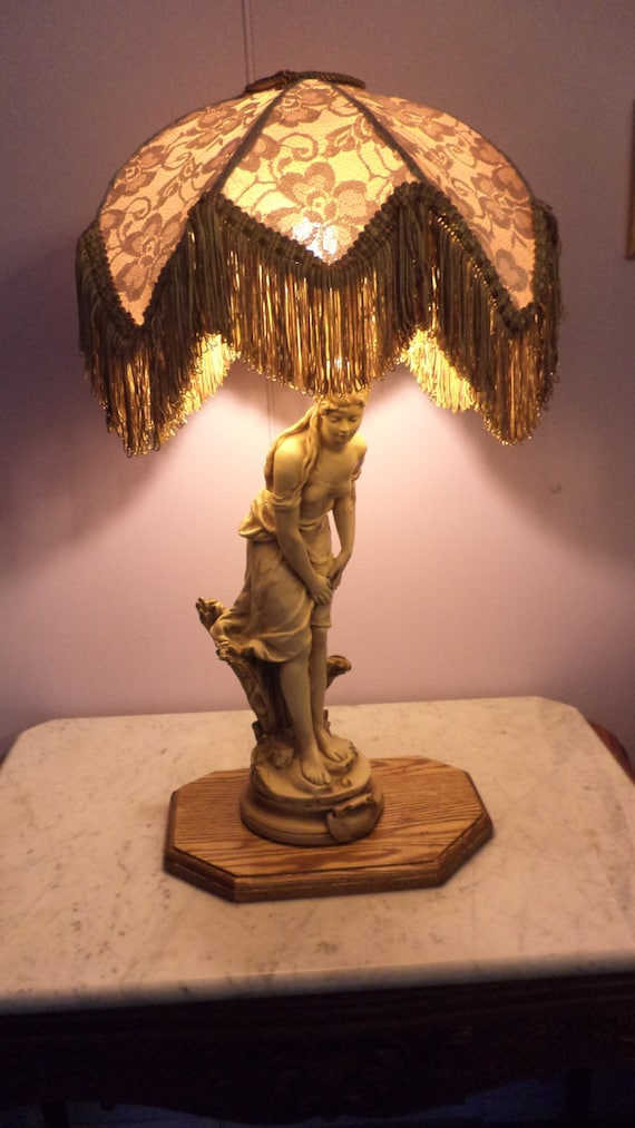 Beautiful Homemade Lamps : Beautiful greecian lamp with homemade shade gold tan