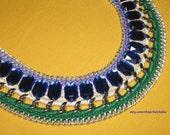 Statement necklace, Dark blue green necklace rhinestones, Bib necklace, Trend Bold necklace
