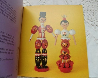 "1980  french vintage  beadwork craft book  ""fantaisies en perles""  beads Pearl doll, vintage wooden beads book"