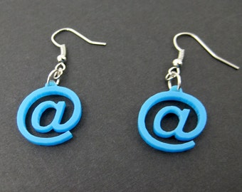 At Sign Computer Earrings - Blue Laser cut