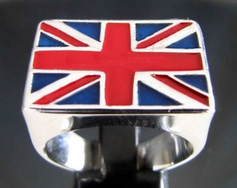 UK UNION JACK London Ring in Sterling Silver 925 - Custom Fitted Sizes