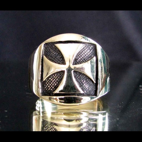 bronze iron cross ring chopper mc coat of arms by