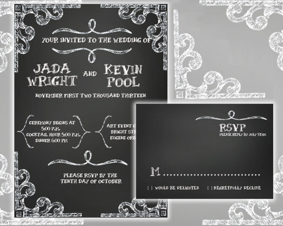 Printable Chalkboard Wedding Invitation and RSVP Card