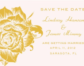 Custom Vintage Rose Wedding Save The Date