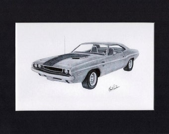 Car art drawing of a 1970 Challenger R/T