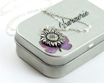 Sunflower Necklace, Silver Sunflower Necklace, Sunflower Jewelry, Sunflower Charm, Silver Flower Necklace