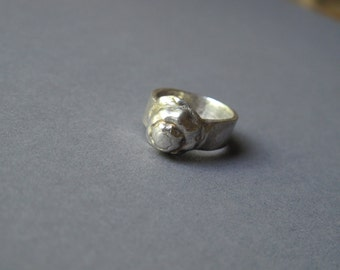 """silver ring """"Shell""""--handcrafted recycled silver,shell shape ring, hand sculptured silver ring, metalwork ring, pmc ring"""