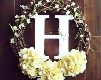 Monogrammed Yellow Hydrangea & White Flowery Grapevine Wreath.