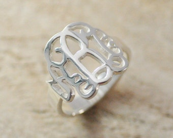 monogram ring  925 sterling silver hand stamped ring personalized jewelry monogram jewelry Gift for Grandmother