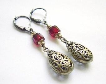 """Earrings """"drops in vintage-look"""" red bronze"""