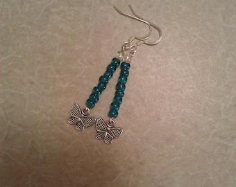 Beaded Earrings with Butterflies