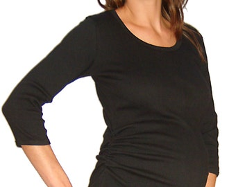Crinkle Cotton Lycra R-Neck Top
