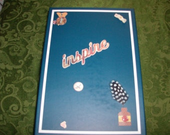 Very sturdy Memory/Treasure cardboard box. Blue with white stripes and 3-D artwork on the top.