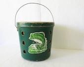 60's Minnow Bait Pressed Cardboard Fishing Bucket Bait Pail