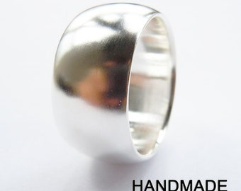 999 fine silver plain band ring 12mm handmade all size