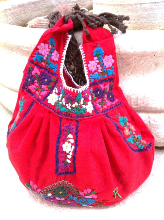 Mexican upcycled hand embroidered purse with by