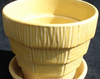 "Vintage McCoy Yellow Planter 5"" tall - Basketweave Pattern"