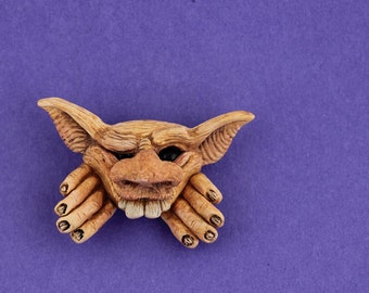 Fairy FantasyBrooch button pin froud style face faery elves and goblins funny cute whimsical quirky