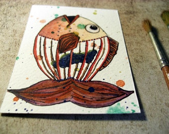 Original ACEO  - colorful watercolor painting - FISH: the courage of change