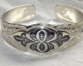 Vintage Russian sterling silver and niello cuff bracelet