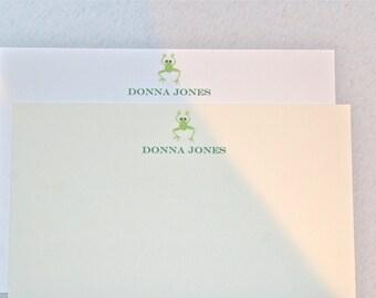 Stationery Set. 50 Cards with Name and Custom Envelopes. Frog logo design