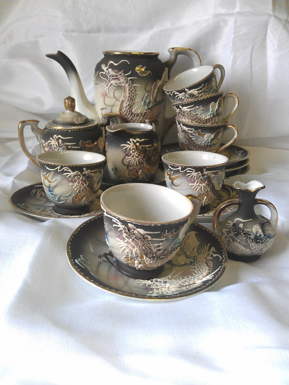 Fairyland China Tea Set With Hand Painted Dragon Imagery